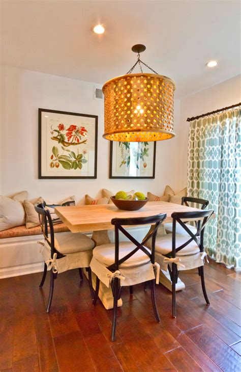 superior Small Dining Room Decorating Ideas #1: Eclectic-Dining-Room-With-Designed-wooden-Chandelier.jpg