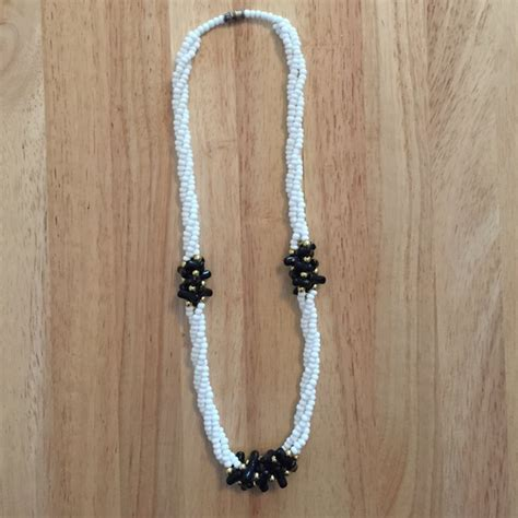 black seed bead necklace 56 jewelry black and white seed bead necklace from