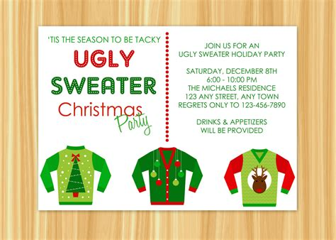 ugly christmas sweater party invitations gangcraft net