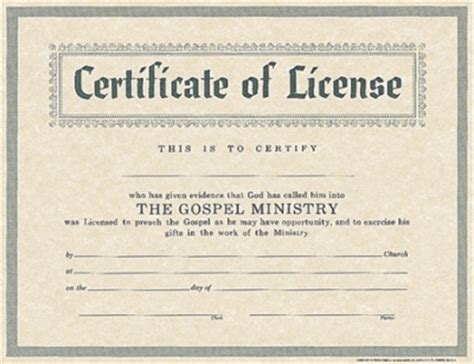 template for certificate of license wallet cards deacon ordination certificate template baptist minister