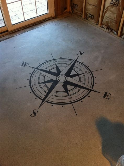 compass floor stencil  cement floor compass