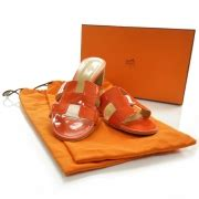 Sandal Wedges Selop Hermes Orange Diskon hermes patent leather oran sandals 39 orange 23037