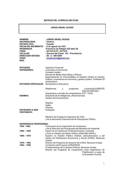 Modelo Curriculum Vitae Gobierno De Chile Curriculum Vitae Curriculum Vitae Chile Formato 2014