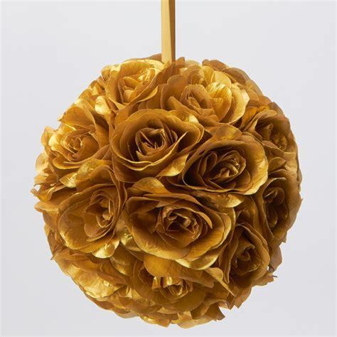 gold 7 and 10 inch silk flower pomander kissing balls.