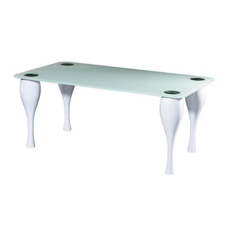 white glass top dining table only with high gloss legs