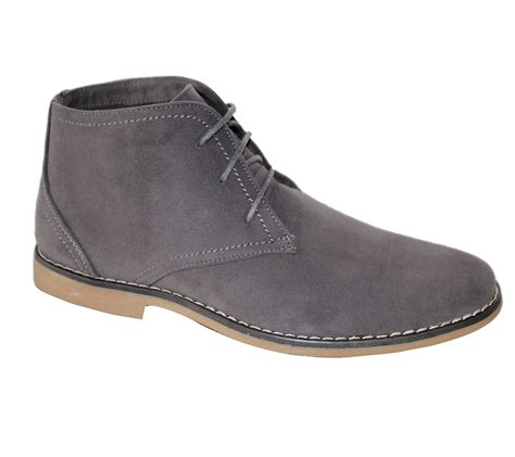 mens synthetic suede desert boots casual lace up winter