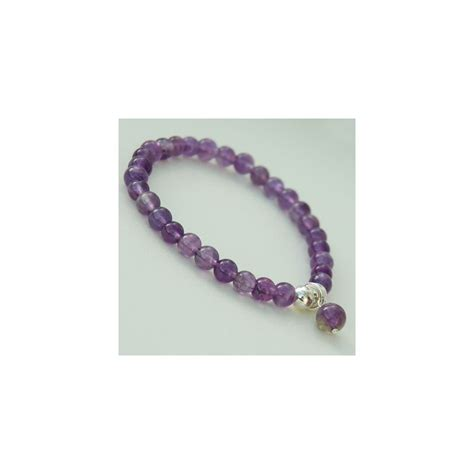 amethyst bead bracelet with silver i shock