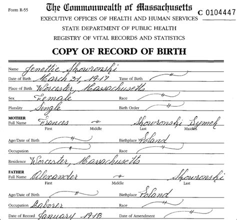 Birth Record The Birth Of Jean Skowronski Steve S Genealogy