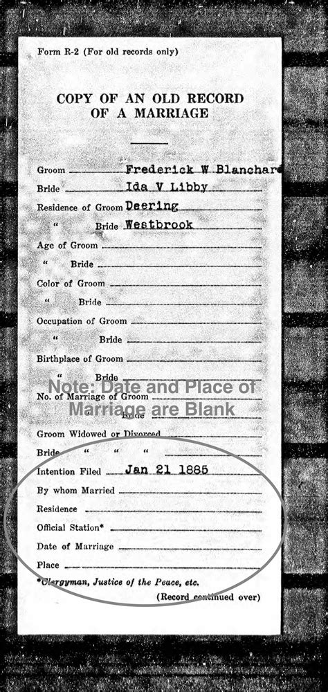 Maine Marriage Records Frederick W Blanchard Orphan Widower Plasterer