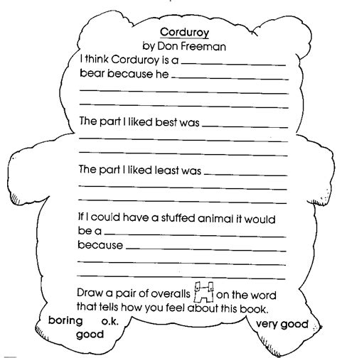 Book Report Worksheet For Kindergarteners by Corduroy Kiddos Book Club Ideas Corduroy