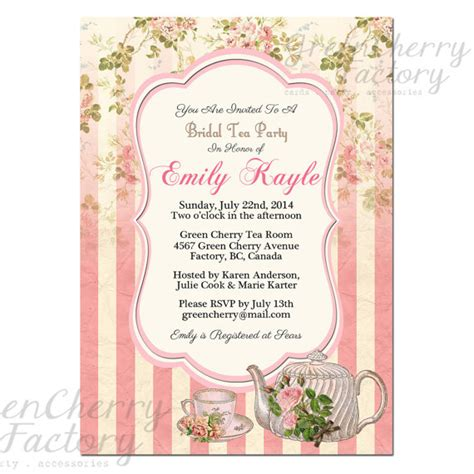 Tea Baby Shower Invitation Wording by Tea Invitation Bridal Shower By Greencherryfactory
