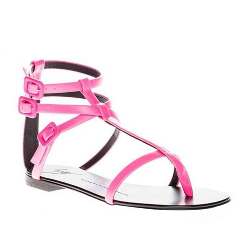 Giuseppe Zanotti Pink And Black Sandals by Giuseppe Zanotti New And Sold Out Pink Leather Strappy