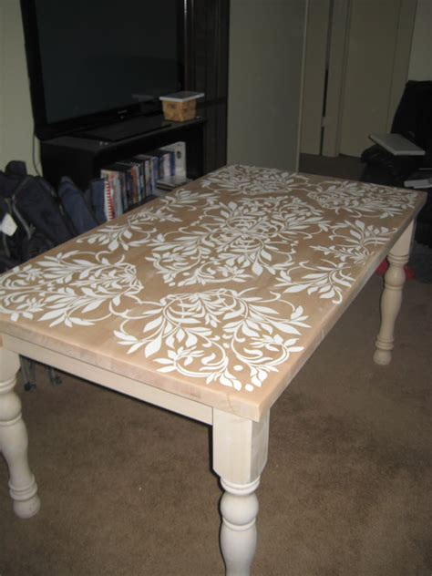 Stencil Table by These Days Newly Awesome Stenciled Diy Kitchen Table
