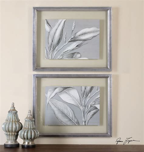 gray wall decor silver gray tropical leaves wall art set framed