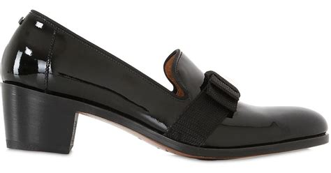 black loafer pumps simon fournier 50mm bowed patent leather loafer pumps in