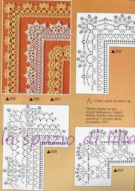 bordure all uncinetto per mensole schemi di bordi crochet con angoli utili per copertine e