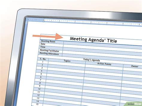 Contoh Menulis Notulen by Cara Menulis Agenda Untuk Rapat Wikihow