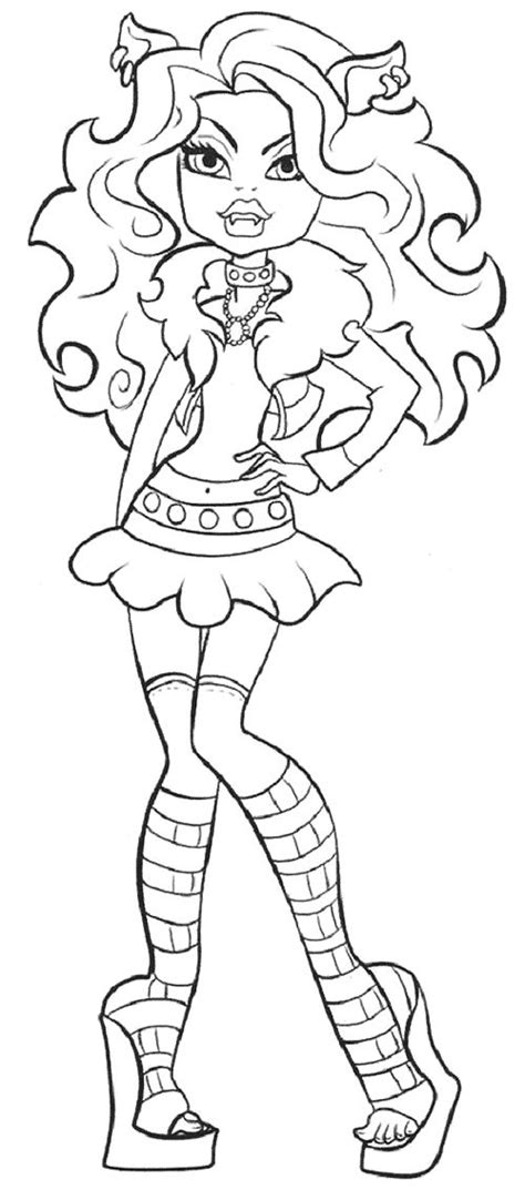 cute clawdeen wolf coloring page coloring pages pinterest