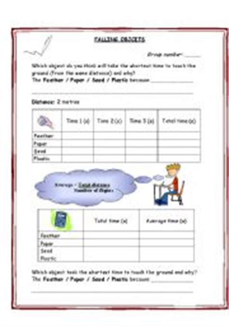 Gravity Worksheet by Falling Objects Gravity Air Resistance