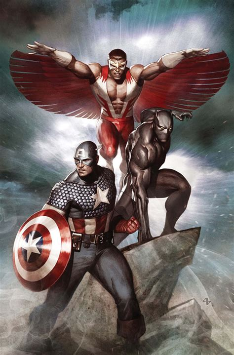 Captain In Black captain america falcon and black panther marvel comics black panther capt