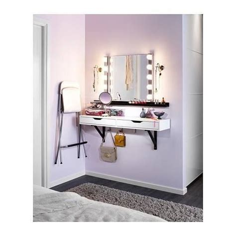 small bedroom vanity ikea ekby alex shelf with mirror and lighting perfect