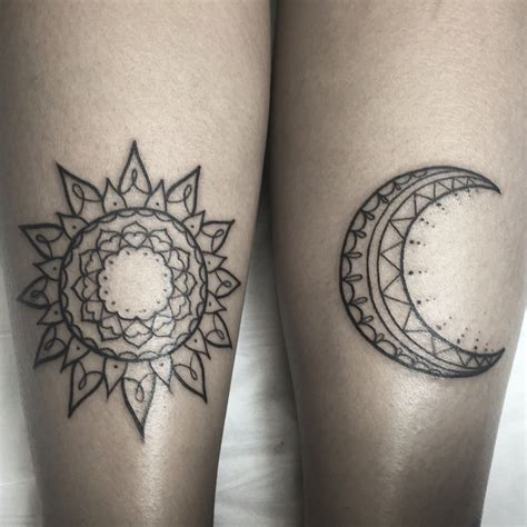 sun mandala tattoo sun and moon by dunne instagram