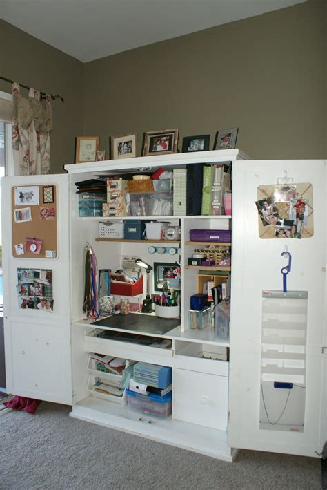 Craft Armoire Furniture by Scrapbook Cabinet And Workstation Studio Design
