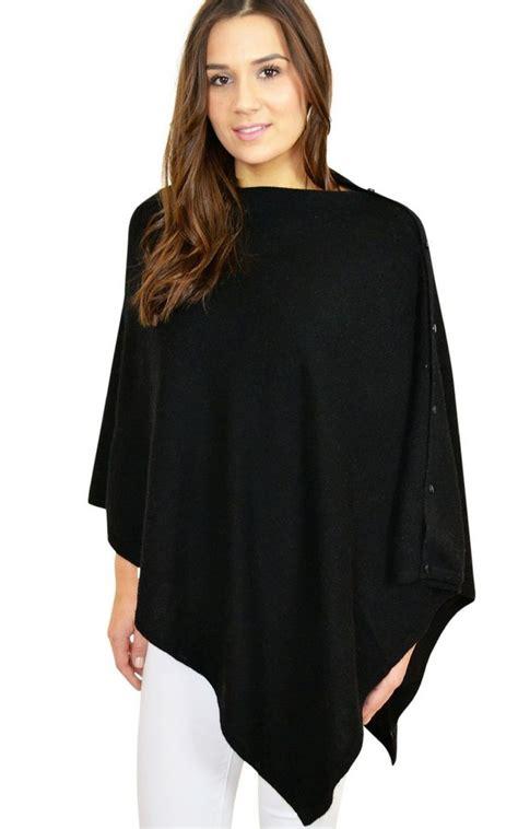 Pashmina Woll Kotak Bb black multi ways poncho wrap shawl with buttons