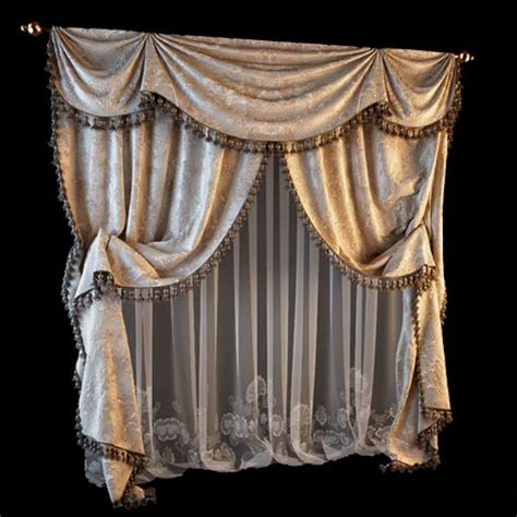 3d curtains plush velvet curtains 3d model 3dsmax files free download