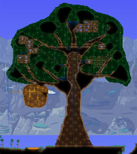 terraria tree house giant living wood treehouse fortresses living quarters terraria maps curse