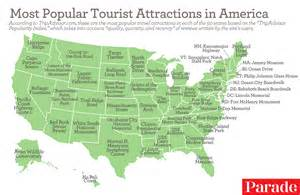 united states tourist attractions map the most popular tourist attractions in each of the 50 states
