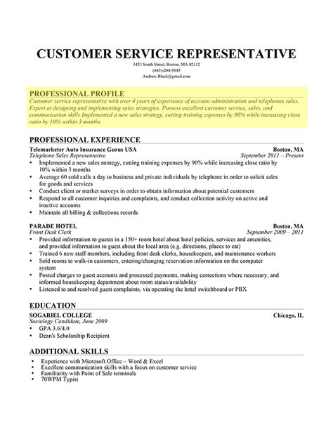 Career Profile Exles For Resume by How To Write A Professional Profile Resume Genius