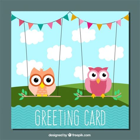 greeting card template with cute owl vector free download greeting card template with cute owls and garlands vector