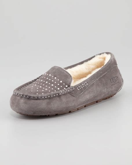 bling house slippers ugg australia ansley bling moccasin slipper gray