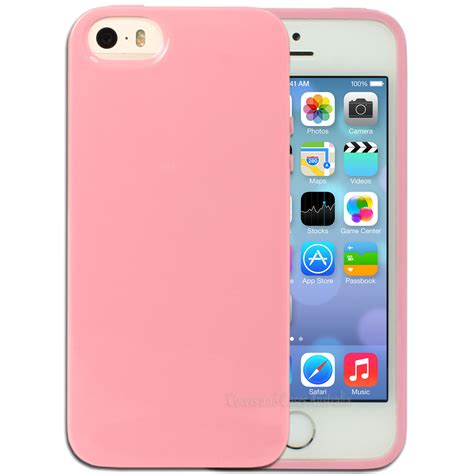 Iphone 5 5s Pink light pink jelly protective for apple iphone 5 5s se