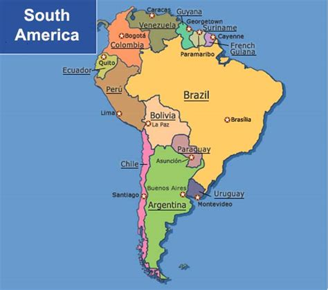 map of south american countries south america map with countries and capitals