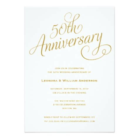Sle Invitation Letter For 50th Wedding Anniversary Anniversary Invitations Announcements Zazzle
