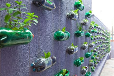 Vertical Garden From Plastic Bottles Spunky Wall Garden Created From Recycled Plastic