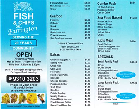 fish and chip shop menu template pics for gt fish and chips shop menu