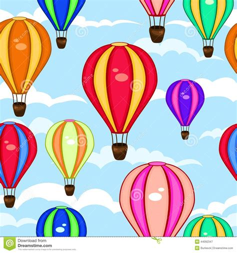 Colorful seamless pattern of hot air balloons stock vector image 44092347
