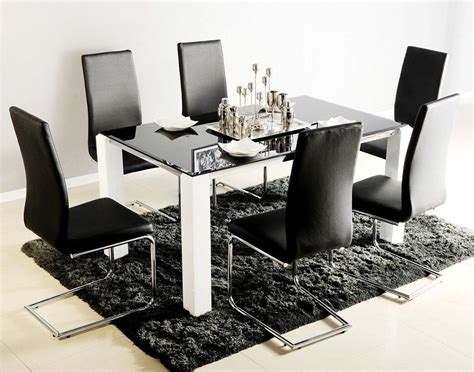 Black Glass Dining Table Atlantis Viva Black Glass Dining Table With 6 Chairs Blue Interiors
