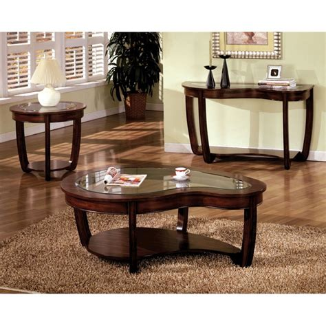 Glass Coffee Table Set Of 3 Furniture Of America Tunton 3 Glass Top Coffee Table Set Idf 4336 3pc