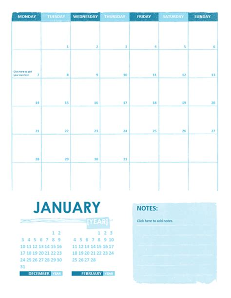 any year calendar template academic calendar one month any year monday