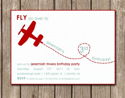 Aeroplane Template For Birthday Card by Printed Airplane Birthday Invitation By