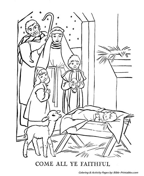 coloring page christmas story catholic christmas cards for children to colour search