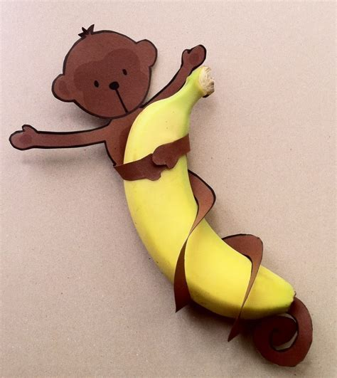 Monkilo Banana monkey printable for a jungle crafts