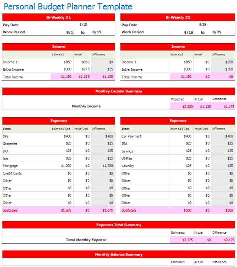 Bi Weekly Budget Template Bi Weekly Personal Budget Planner Template