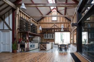 interior design for kitchen and dining barn conversion puts reclaimed materials to use