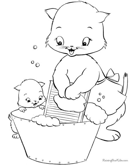 Kitten Coloring Pages 016 Cat And Kitten Coloring Pages