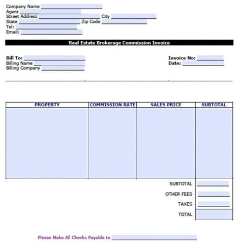 commission invoice template free real estate brokerage commission invoice template